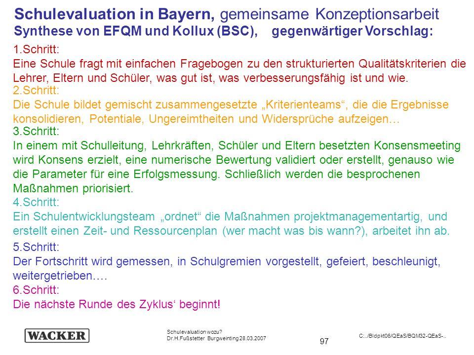 Schulevaluation in Bayern, gemeinsame Konzeptionsarbeit