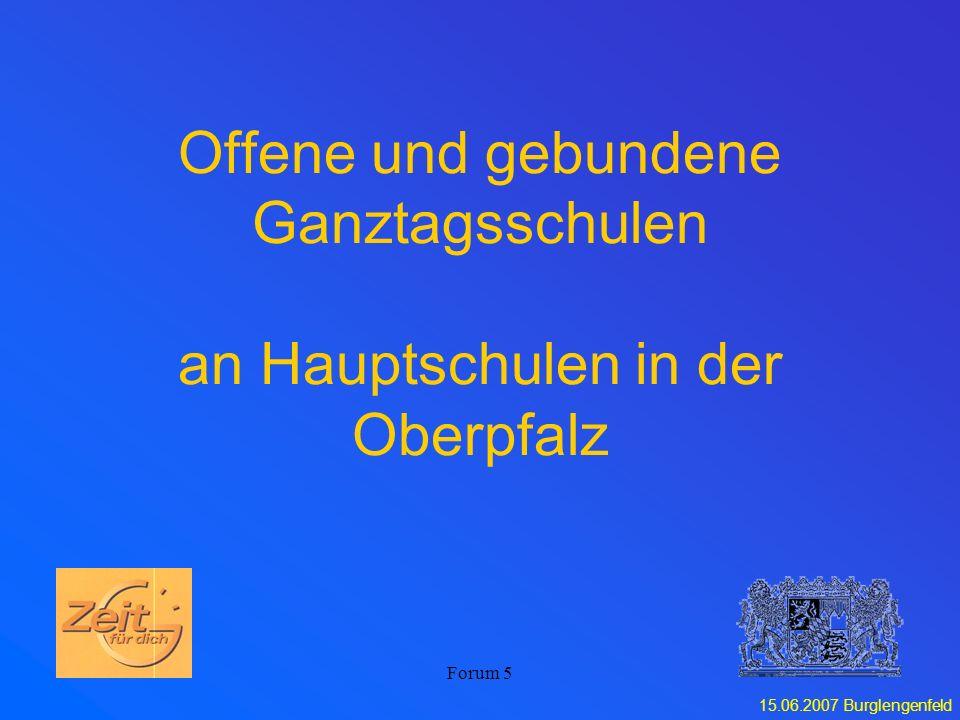 Offene und gebundene Ganztagsschulen an Hauptschulen in der Oberpfalz
