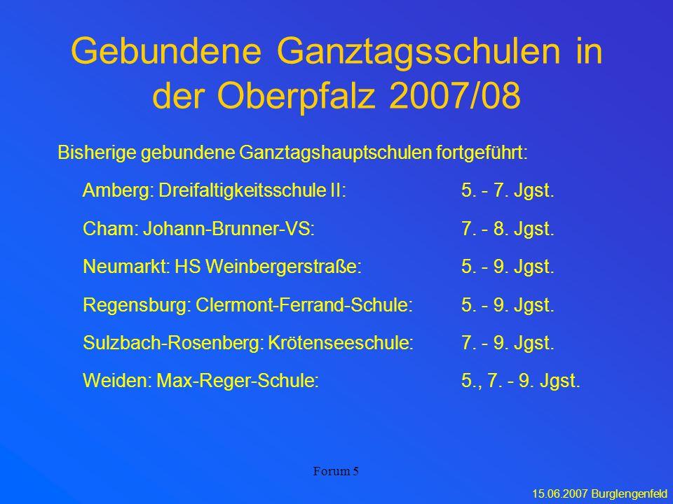 Gebundene Ganztagsschulen in der Oberpfalz 2007/08