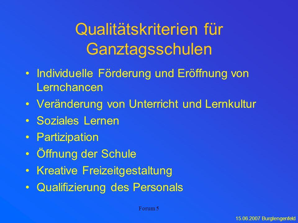 Qualitätskriterien für Ganztagsschulen