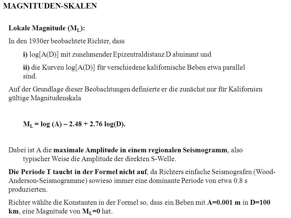 MAGNITUDEN-SKALEN Lokale Magnitude (ML):