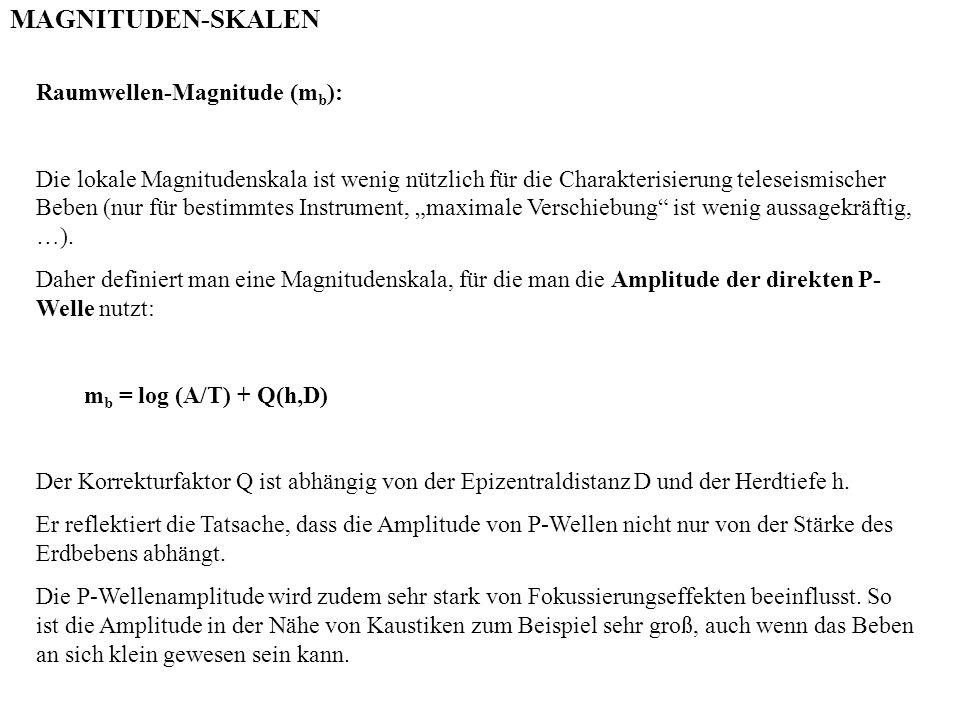 MAGNITUDEN-SKALEN Raumwellen-Magnitude (mb):