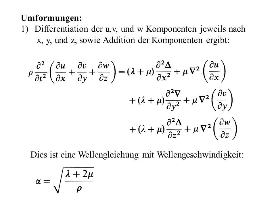 Umformungen:Differentiation der u,v, und w Komponenten jeweils nach. x, y, und z, sowie Addition der Komponenten ergibt: