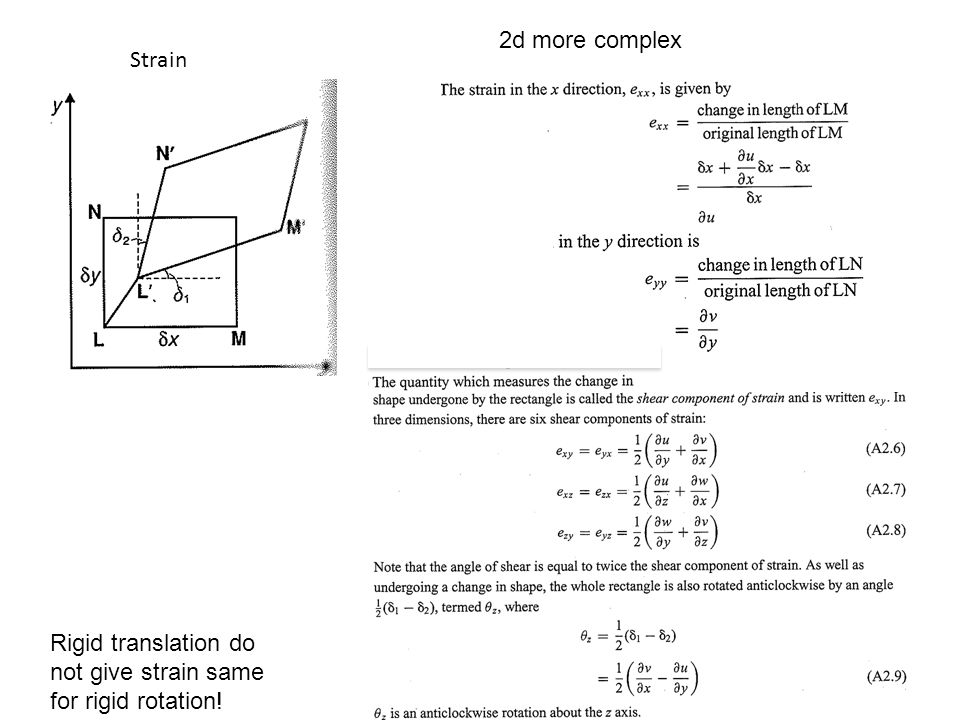 2d more complex Strain Rigid translation do not give strain same for rigid rotation!