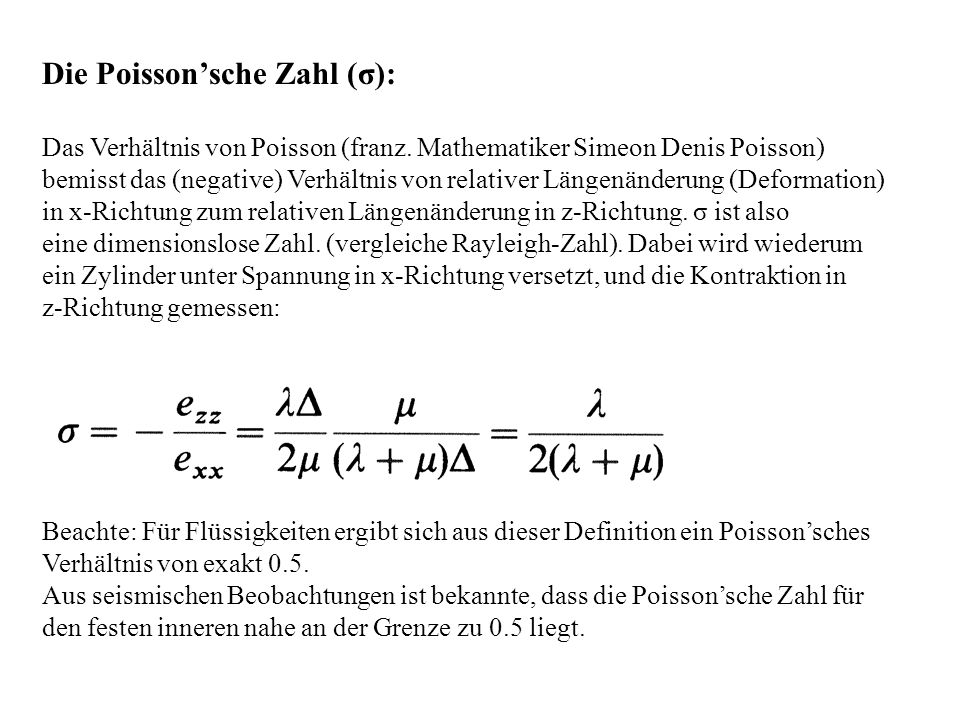 Die Poisson'sche Zahl (σ):