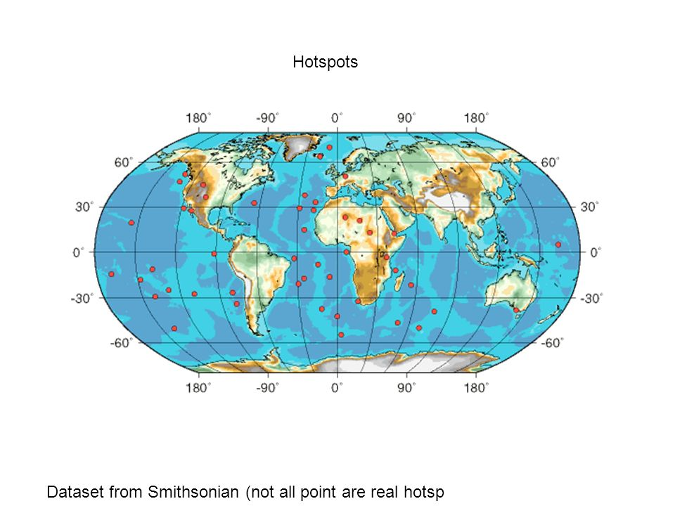 Hotspots Dataset from Smithsonian (not all point are real hotsp