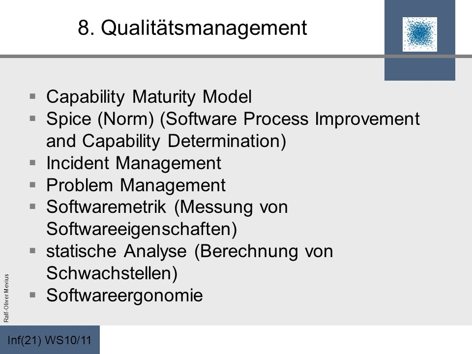 8. Qualitätsmanagement Capability Maturity Model