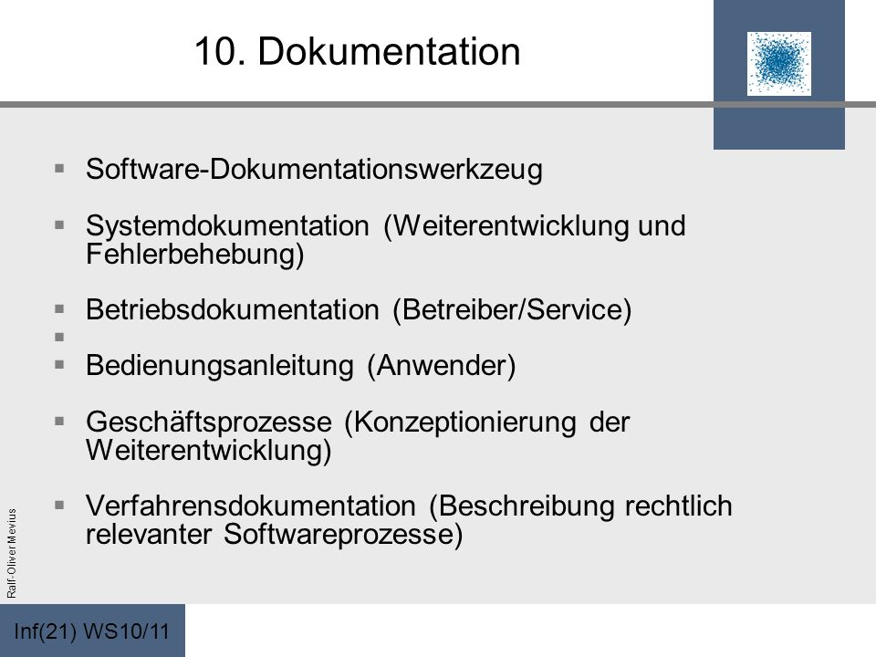 10. Dokumentation Software-Dokumentationswerkzeug