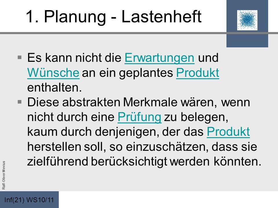 1. Planung - Lastenheft Es kann nicht die Erwartungen und Wünsche an ein geplantes Produkt enthalten.