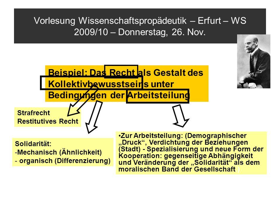 Vorlesung Wissenschaftspropädeutik – Erfurt – WS 2009/10 – Donnerstag, 26. Nov.