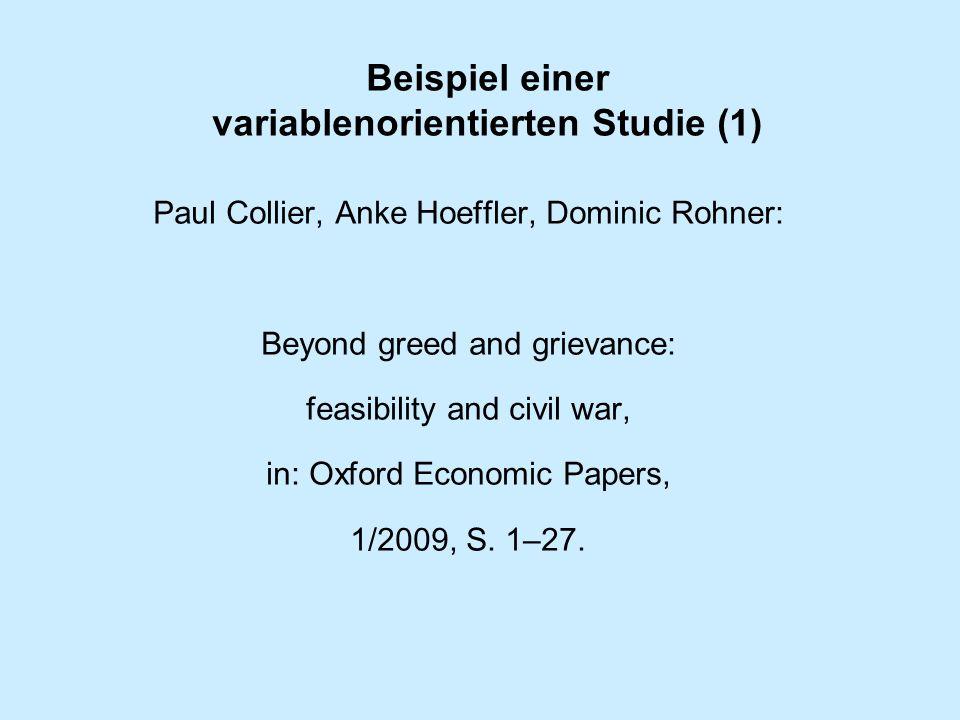 Beispiel einer variablenorientierten Studie (1)