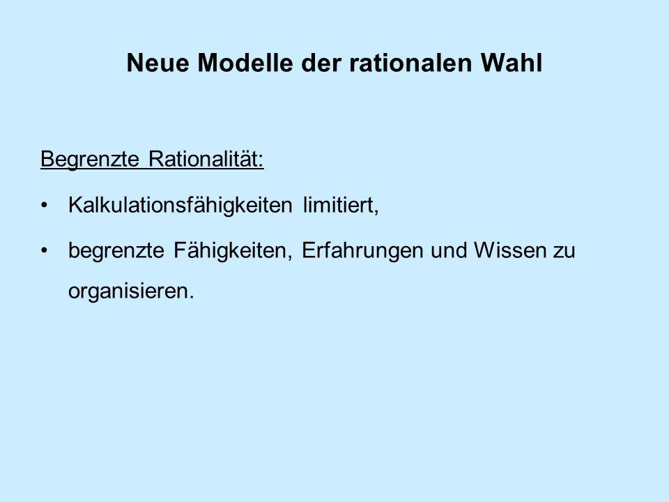 Neue Modelle der rationalen Wahl