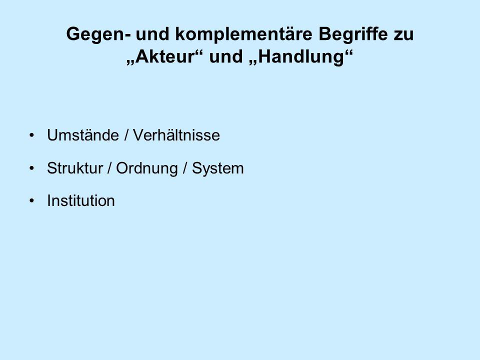 """Gegen- und komplementäre Begriffe zu """"Akteur und """"Handlung"""