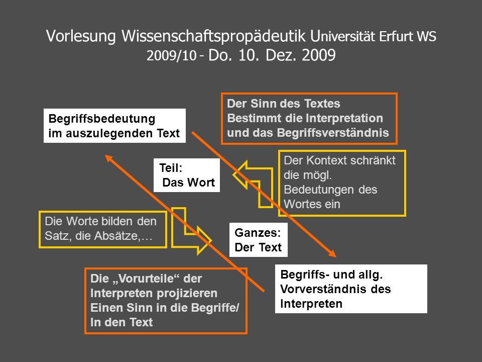Vorlesung Wissenschaftspropädeutik Universität Erfurt WS 2009/10 - Do