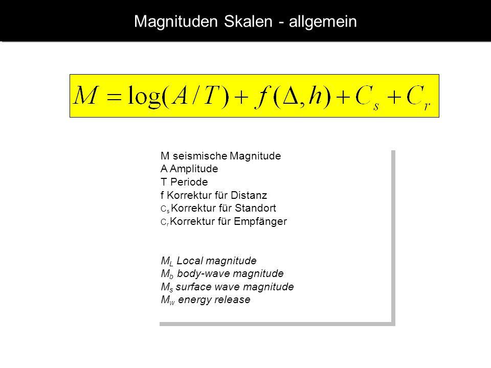 Magnituden Skalen - allgemein