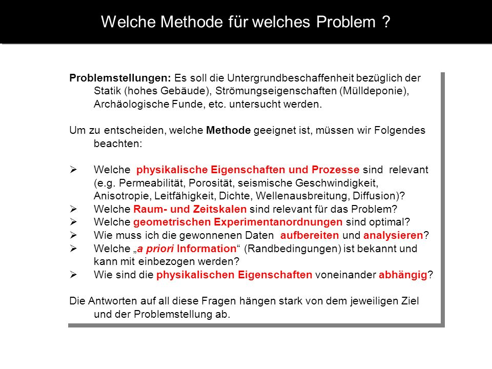 Welche Methode für welches Problem