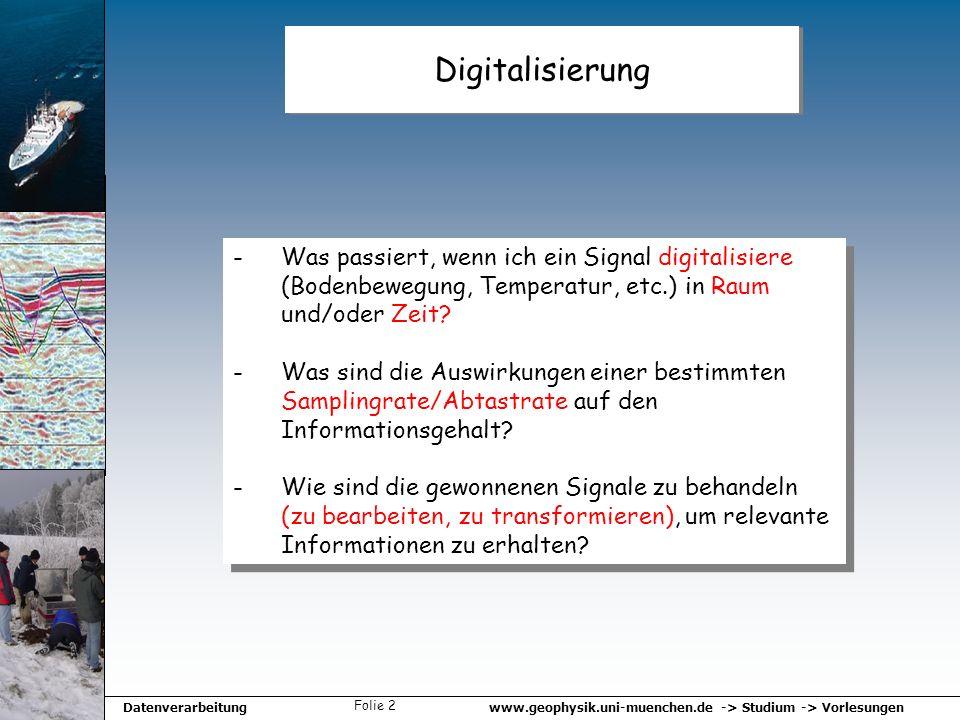 Digitalisierung Was passiert, wenn ich ein Signal digitalisiere (Bodenbewegung, Temperatur, etc.) in Raum und/oder Zeit