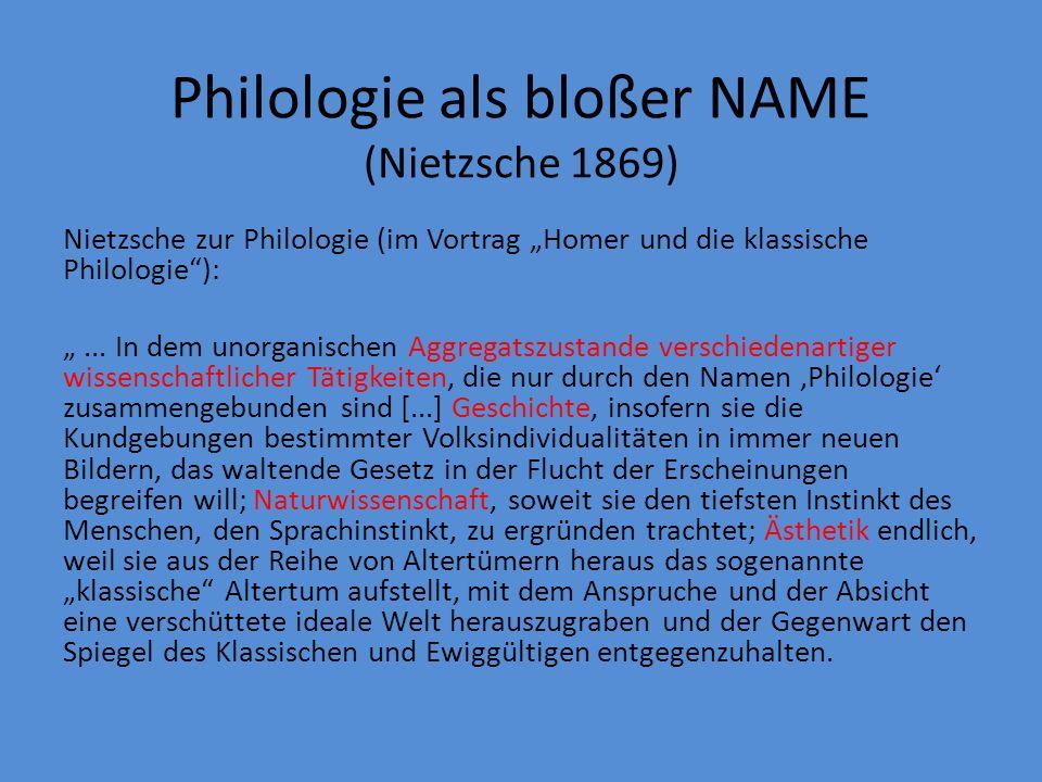 Philologie als bloßer NAME (Nietzsche 1869)