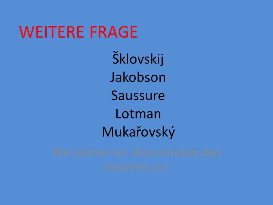 Šklovskij Jakobson Saussure Lotman Mukařovský