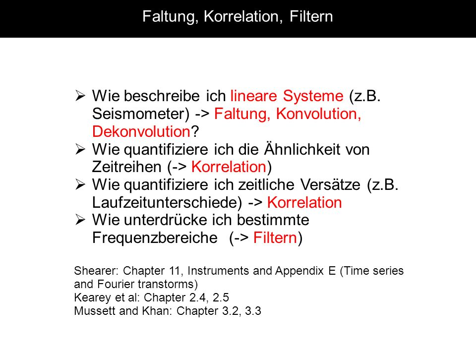 Faltung, Korrelation, Filtern