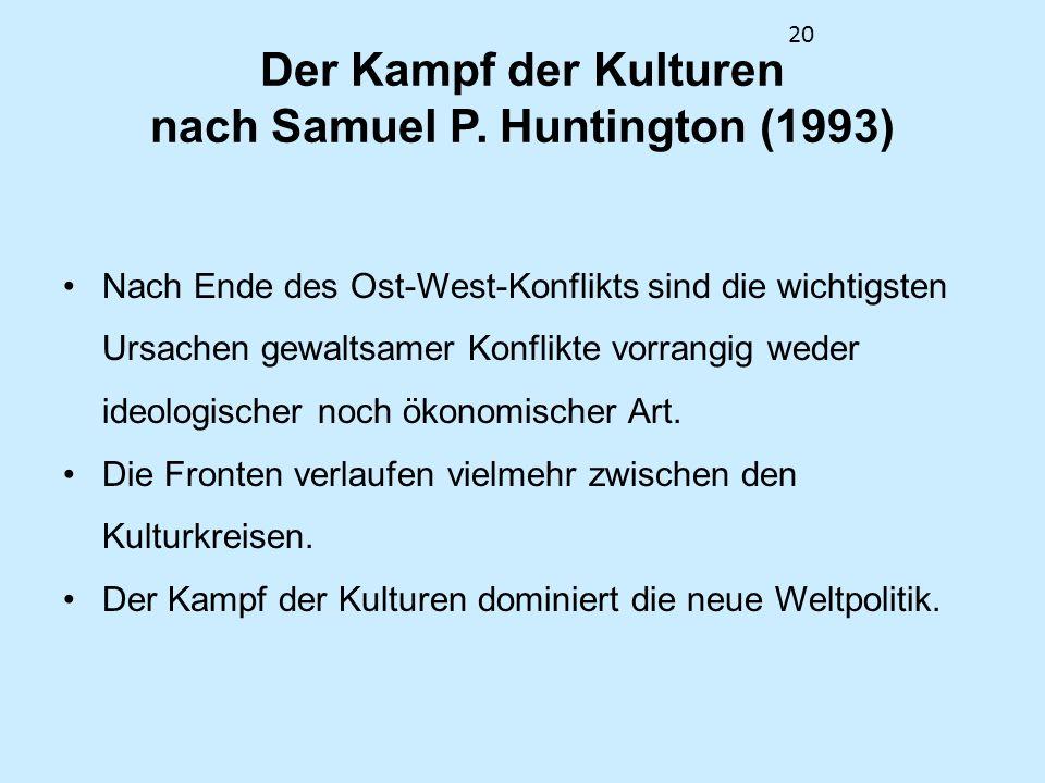 Der Kampf der Kulturen nach Samuel P. Huntington (1993)