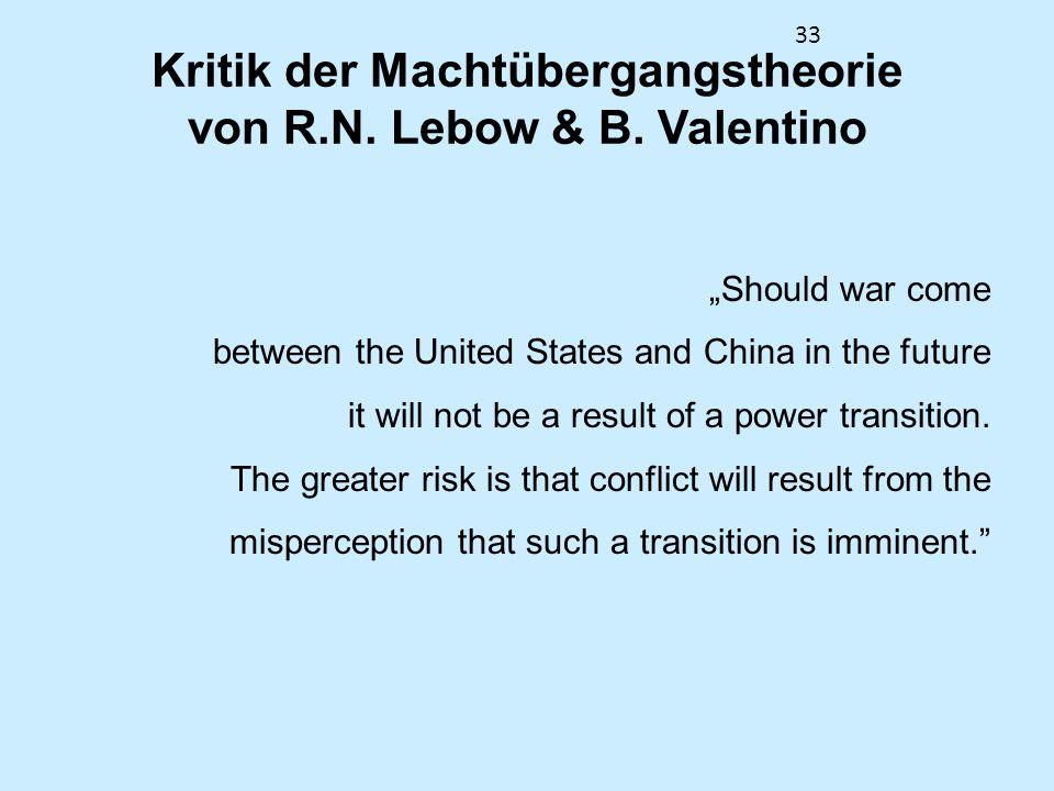 Kritik der Machtübergangstheorie von R.N. Lebow & B. Valentino