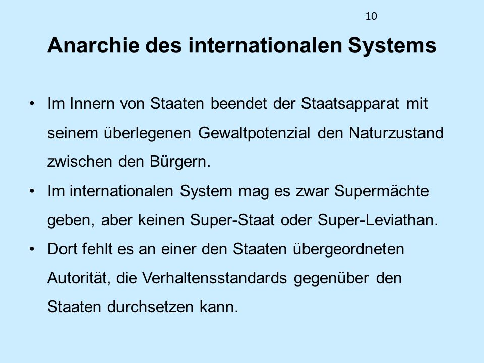Anarchie des internationalen Systems