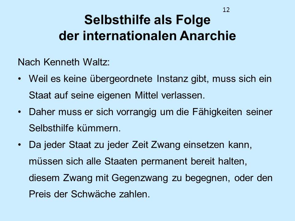 Selbsthilfe als Folge der internationalen Anarchie
