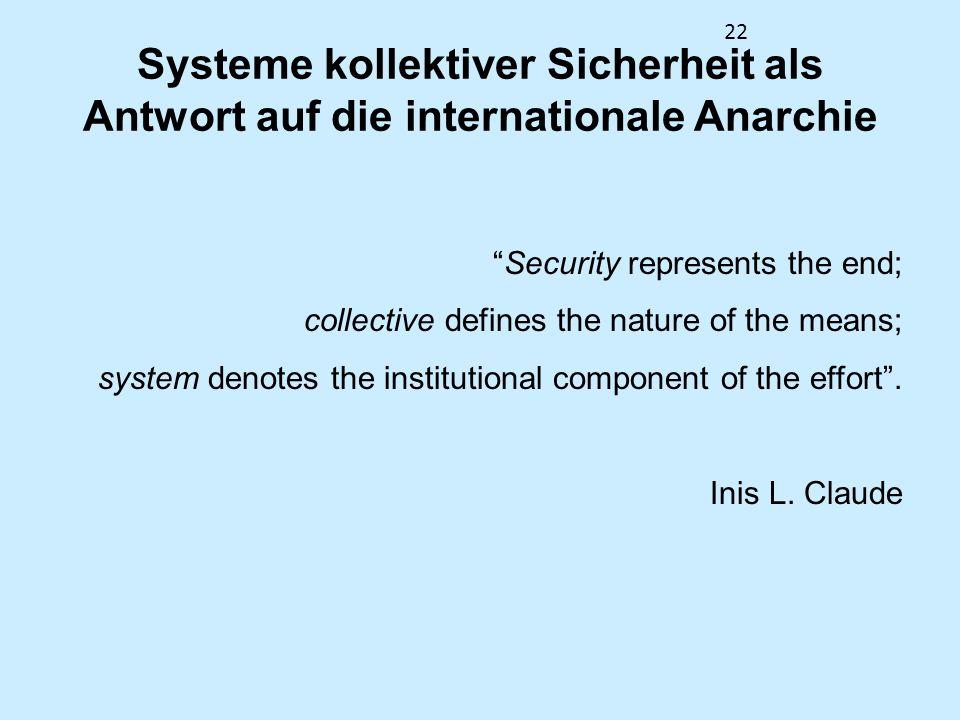 Systeme kollektiver Sicherheit als Antwort auf die internationale Anarchie