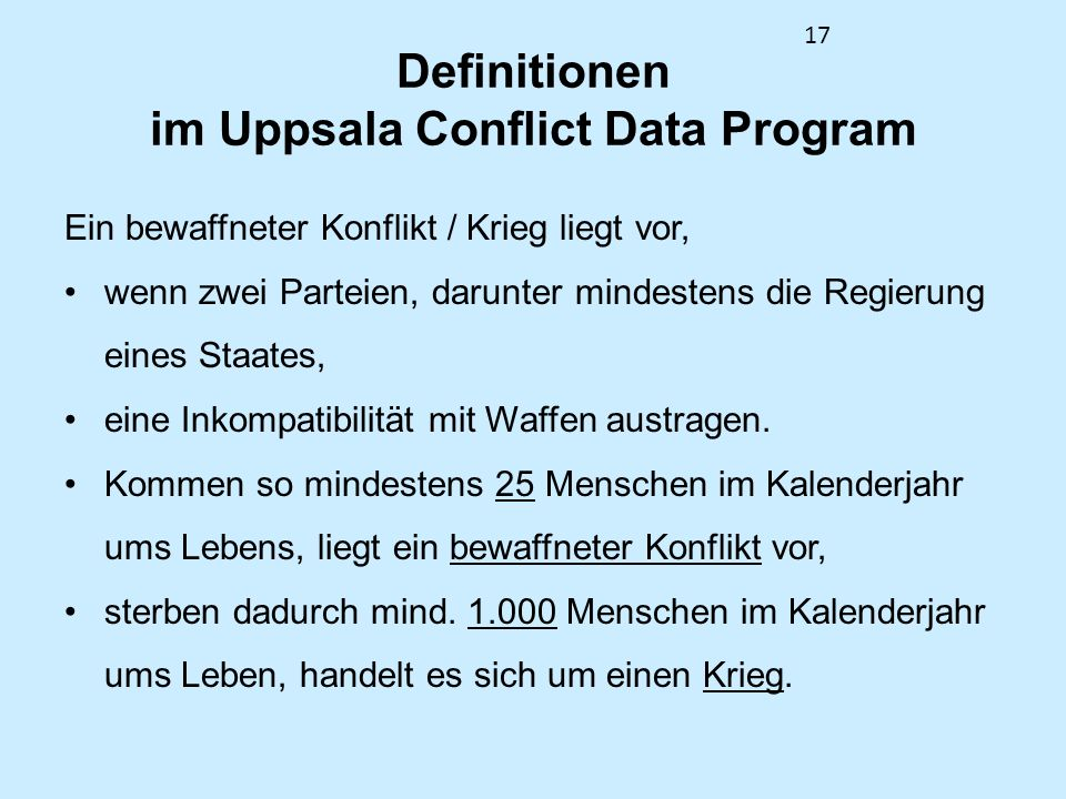 Definitionen im Uppsala Conflict Data Program