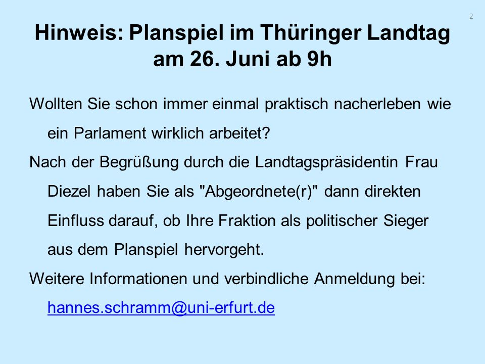 Hinweis: Planspiel im Thüringer Landtag am 26. Juni ab 9h