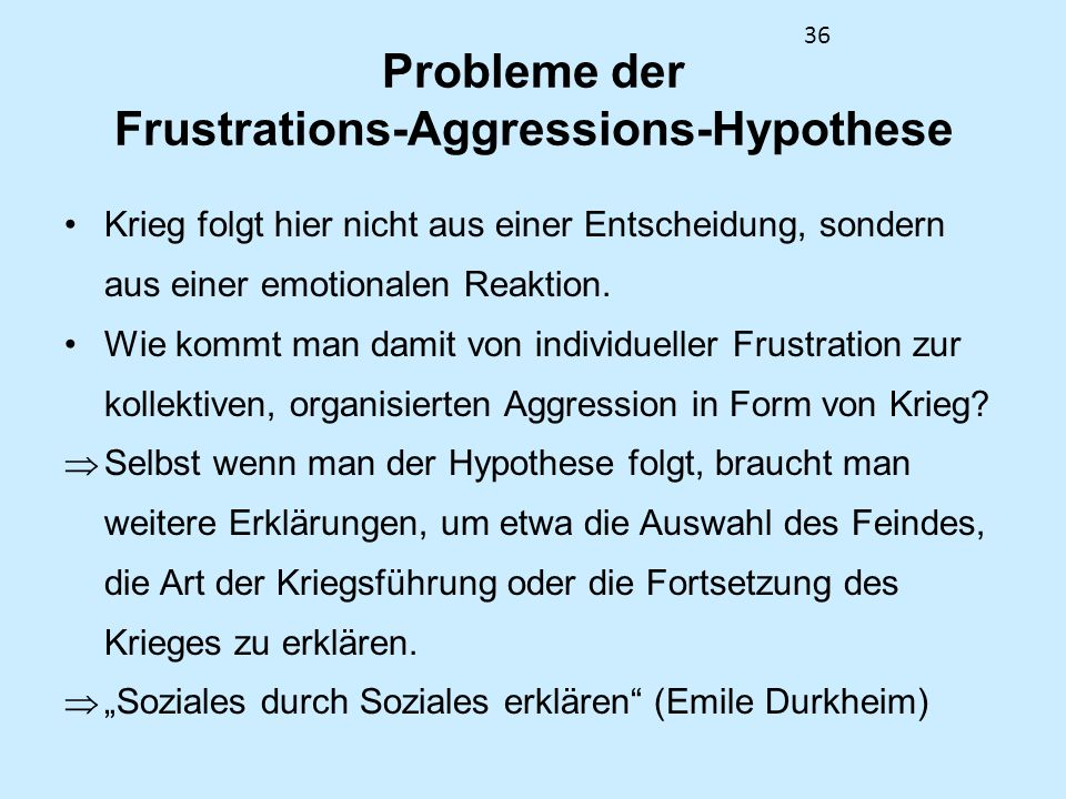 Probleme der Frustrations-Aggressions-Hypothese