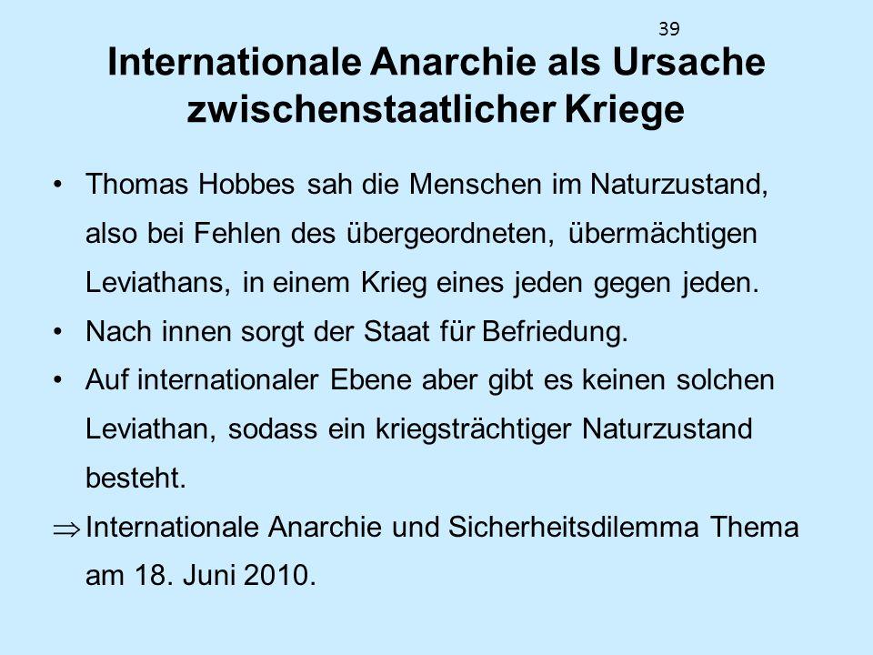 Internationale Anarchie als Ursache zwischenstaatlicher Kriege