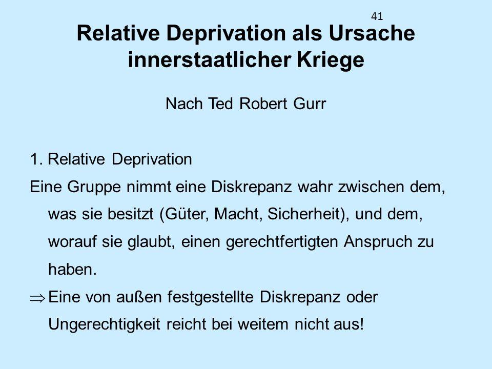 Relative Deprivation als Ursache innerstaatlicher Kriege