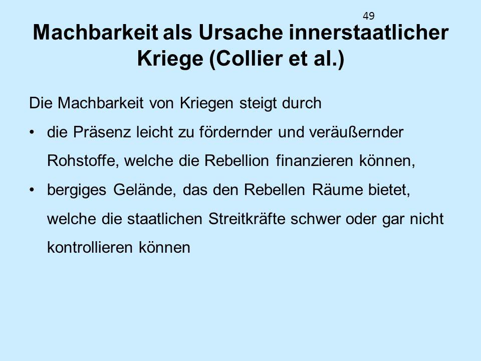 Machbarkeit als Ursache innerstaatlicher Kriege (Collier et al.)