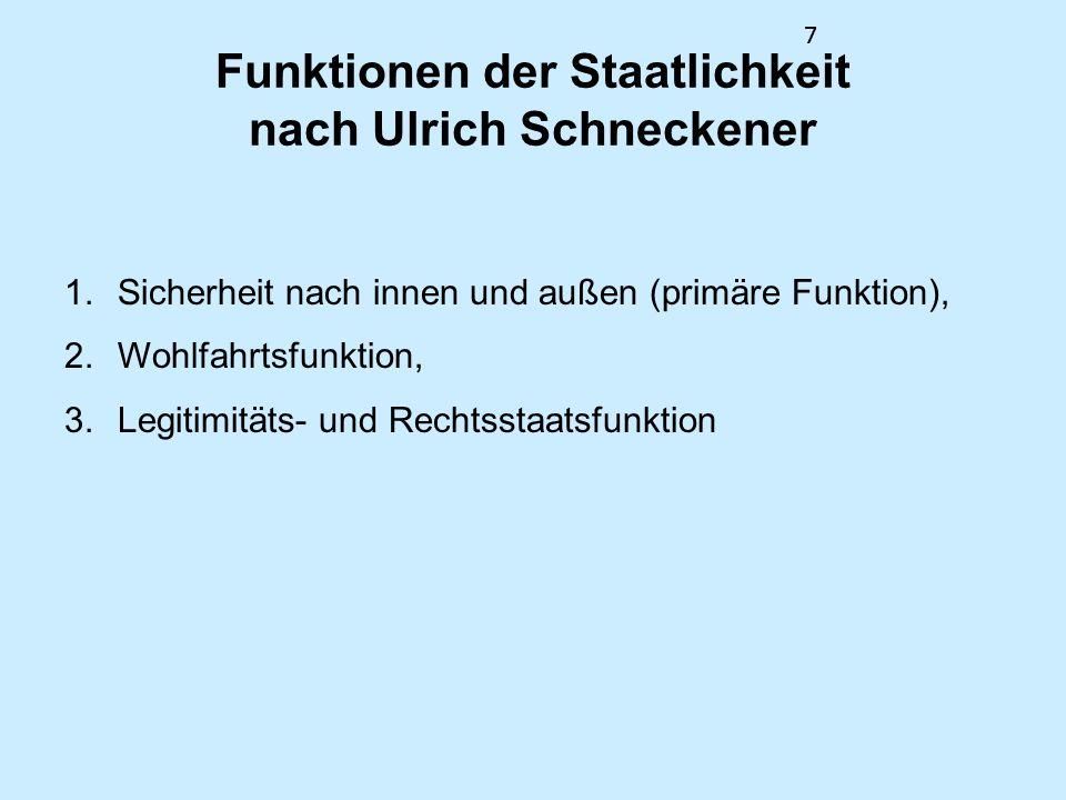 Funktionen der Staatlichkeit nach Ulrich Schneckener