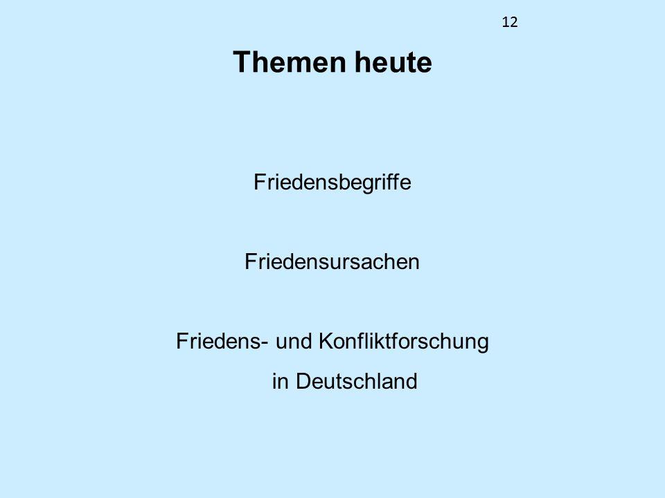 12 Themen heute Friedensbegriffe Friedensursachen Friedens- und Konfliktforschung in Deutschland