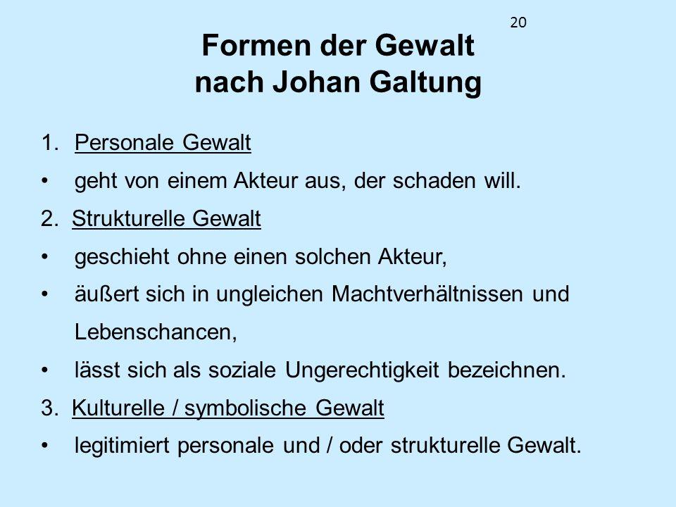 Formen der Gewalt nach Johan Galtung