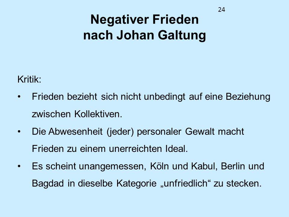Negativer Frieden nach Johan Galtung