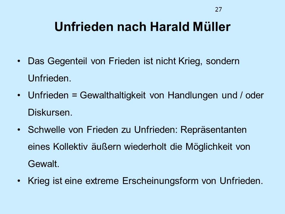 Unfrieden nach Harald Müller