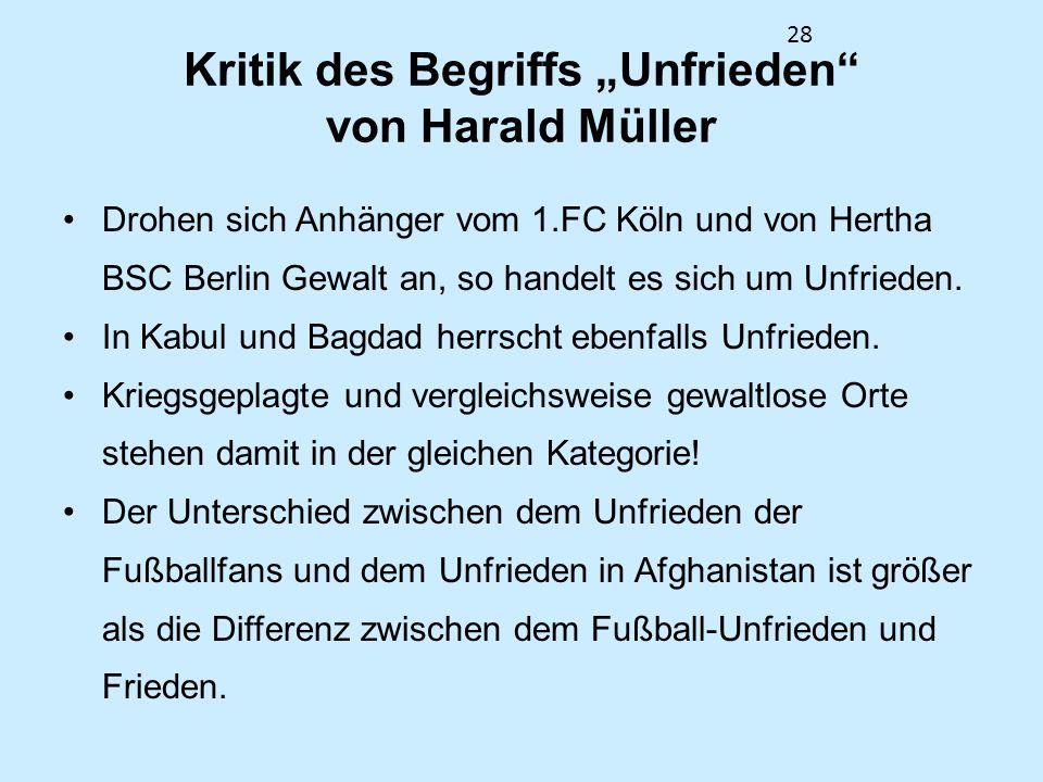 """Kritik des Begriffs """"Unfrieden von Harald Müller"""