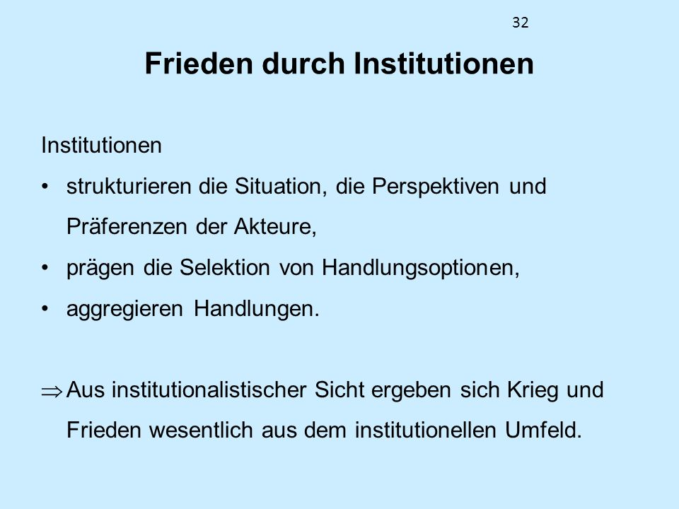 Frieden durch Institutionen