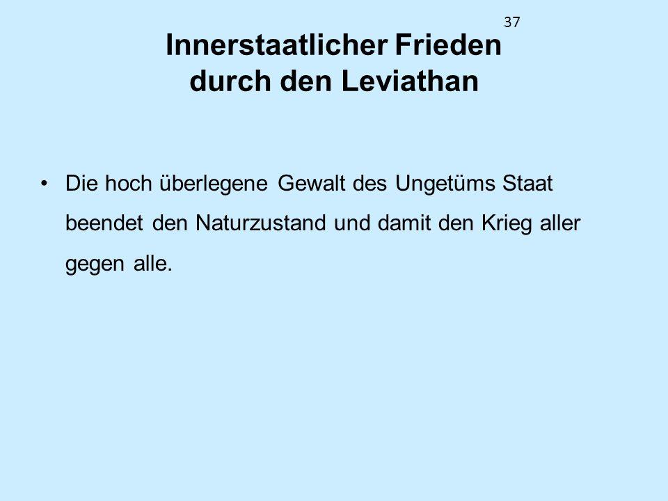 Innerstaatlicher Frieden durch den Leviathan