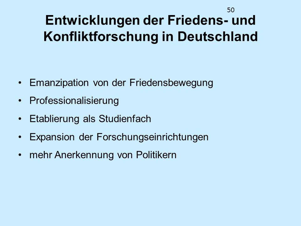 Entwicklungen der Friedens- und Konfliktforschung in Deutschland
