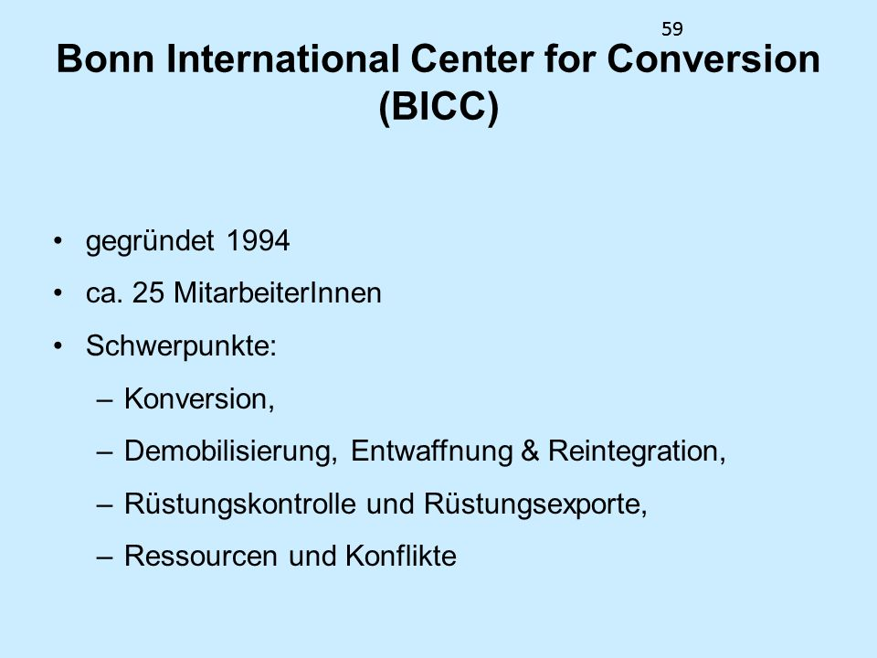 Bonn International Center for Conversion (BICC)