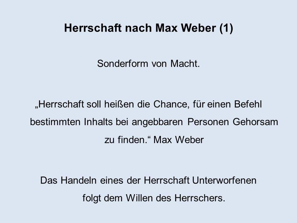 Herrschaft nach Max Weber (1)