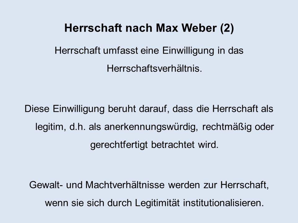 Herrschaft nach Max Weber (2)