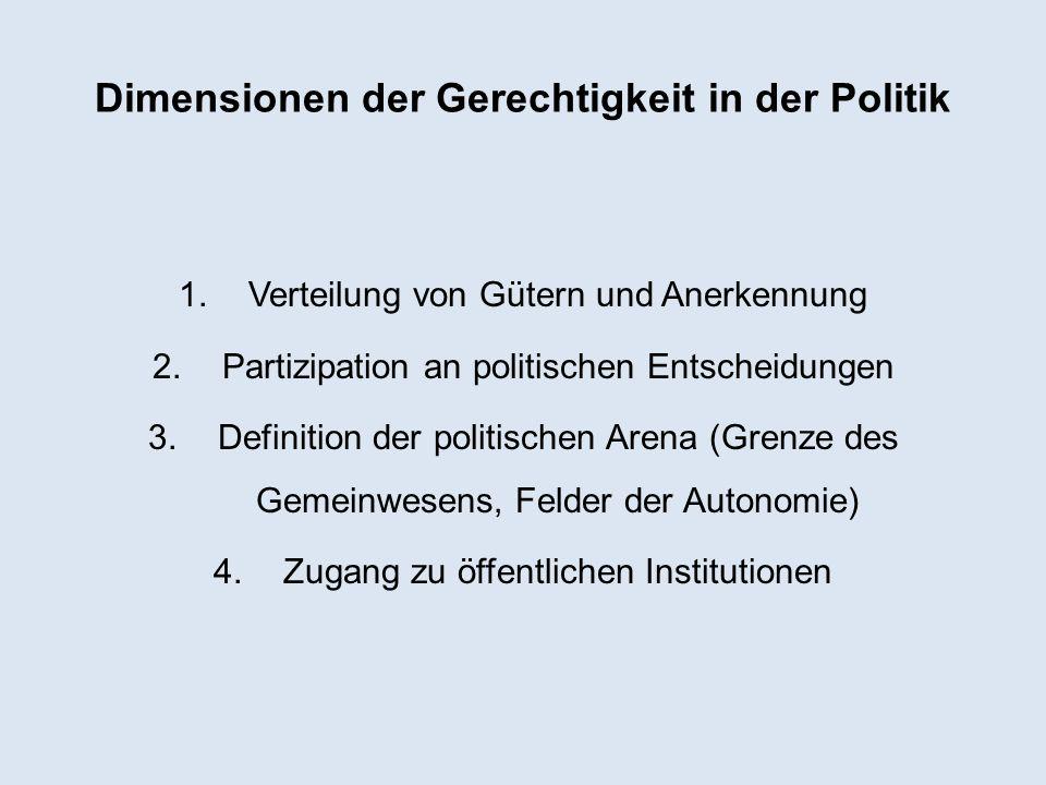 Dimensionen der Gerechtigkeit in der Politik