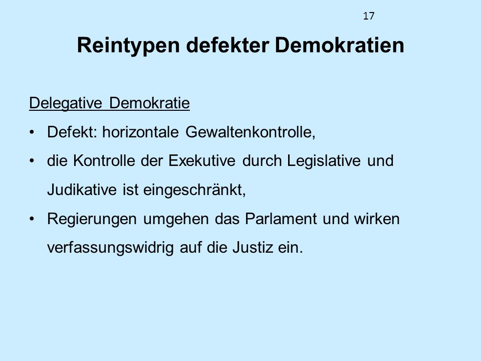 Reintypen defekter Demokratien