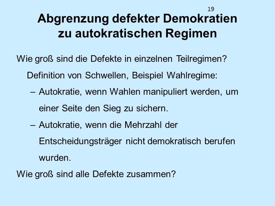 Abgrenzung defekter Demokratien zu autokratischen Regimen